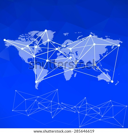 Raster World Map background with blue blur background - stock photo