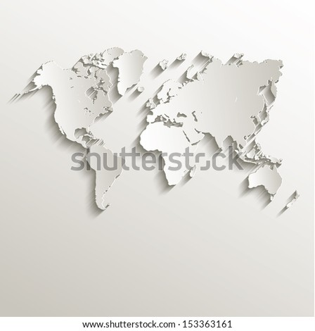 raster World map card paper 3D natural - stock photo