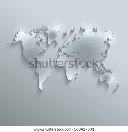 raster World map glass card paper 3D - stock photo