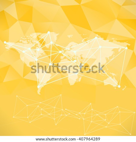 Raster yellow polygon world map background. Can be used as website background or for presintation - stock photo
