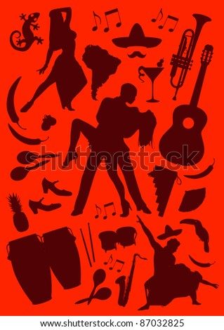 Rasterized Latino Dance and Music icons - stock photo