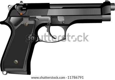 Rasterized of 3D realistic 9mm hand gun - stock photo