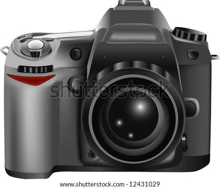 rasterized of 3D realistic professional DSLR camera - stock photo