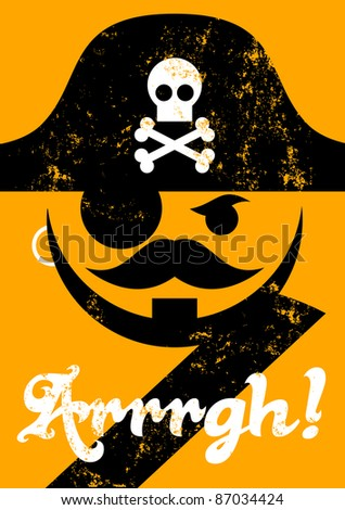 Rasterized pirate face with hat, distressed poster - stock photo