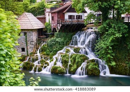 Rastoke Waterfalls, Croatia - stock photo