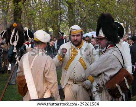 RASZYN - APRIL 18: Participants of Austrian soldiery, after reenact the historical Battle of Raszyn in 1809 April 18, 2009 in Poland.