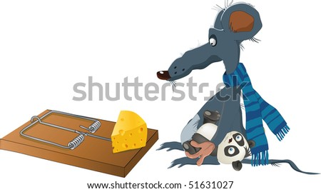 Rat and a mousetrap - stock photo