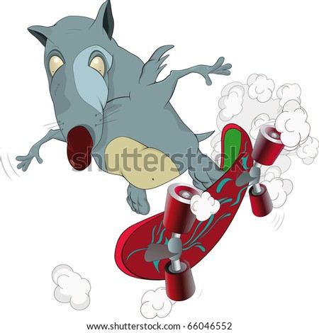 Rat and skate board - stock photo