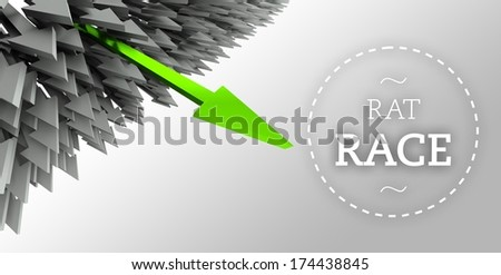 Rat race with arrow individuality concept - stock photo