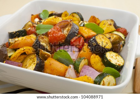 Ratatouille baked in the oven. - stock photo