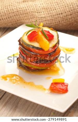 Ratatouille portion served on a plate - stock photo