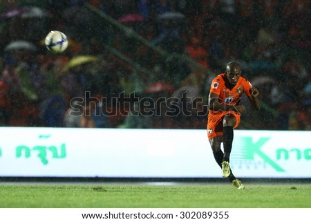 RATCHABURI THAILAND-AUGUST 1:Heberty Fernandes of Ratchaburi F.C. in action during Thai Premier League between Ratchaburi F.C.and Bangkok UTD F.C. at Ratchaburi Stadium on August 1,2015 in Thailand - stock photo