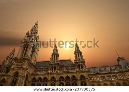 Rathausplatz Rathaus Town Hall Vienna with sunset - stock photo