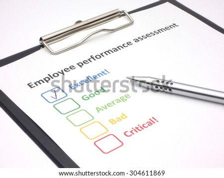 Rating excellent! in an employee performance assessment