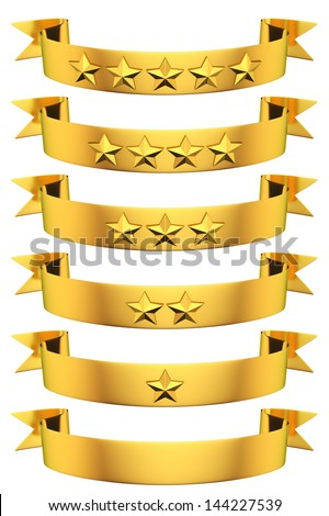 Rating of golden ribbons with stars - stock photo