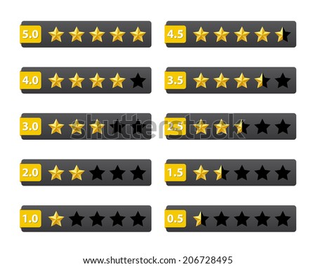 Rating stars buttons. Vector available. - stock photo
