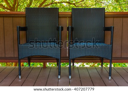 rattan chair - stock photo