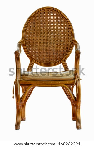 Rattan chair with cushion isolated on white background