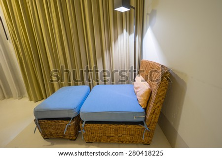 Rattan furniture in home - stock photo