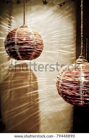 Rattan lamp - stock photo