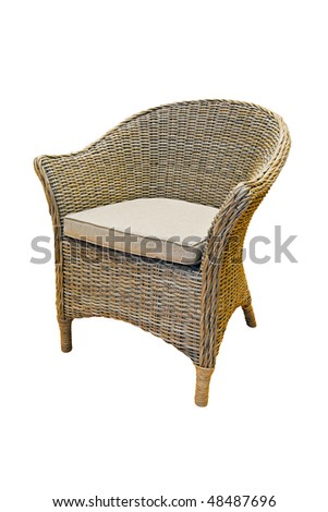 Rattan reed chair isolated included clipping path