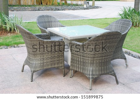 rattan sofa and table set in ourdoor - stock photo