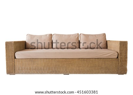 Rattan sofa with grey cushions isolated on white background. Saved with clipping path - stock photo