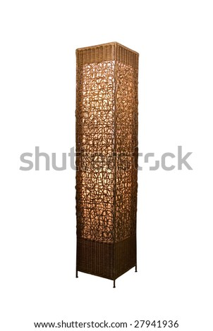 Rattan stand lamp isolate on white - stock photo