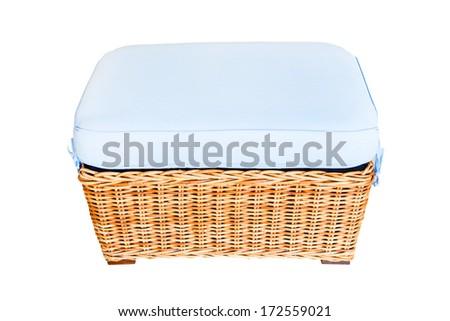 Rattan stool on white background - stock photo