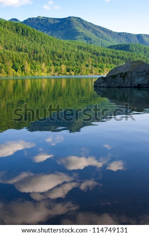 Rattlesnake lake at sunset with beautiful reflections of clouds