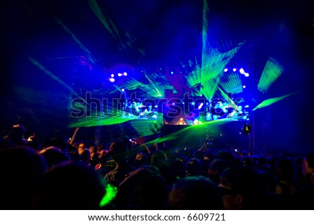 Rave Concert Disco Party - fantastic green laser show - stock photo
