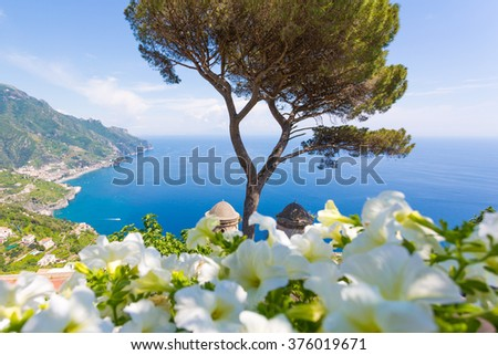 Ravello, Amalfi Coast, Sorrento, Italy. View of the coastline from Villa Rufolo - stock photo