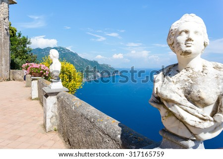 Ravello, Villa Cimbrone in a sunny summer day, infinite terrace and statues over the Amalfi Coast coastline. - stock photo