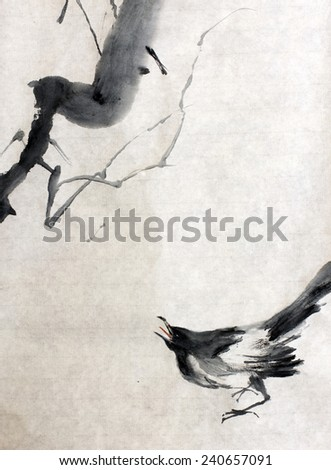 raven and a tree branch - stock photo