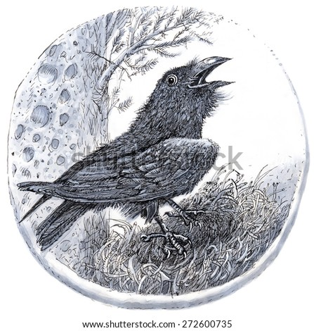 Raven in a nest and the moon. Hand drawn watercolor painting - stock photo