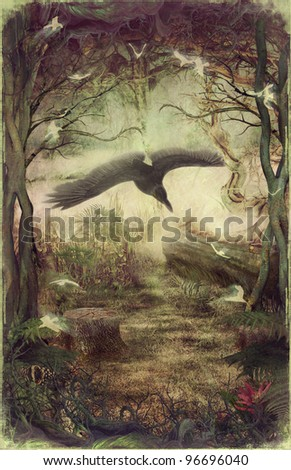 Raven or vulture flying through  night forest. - stock photo