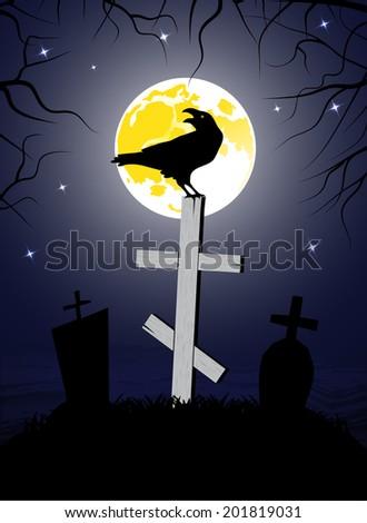 raven sitting on a cross - stock photo