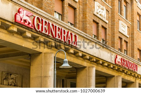 RAVENNA, ITALY - FEBRUARY 15, 2018: Generali logo on agency: the Italian insurance company, third largest in the world, denies payment of Life Insurance to Jewish Holocaust Victims