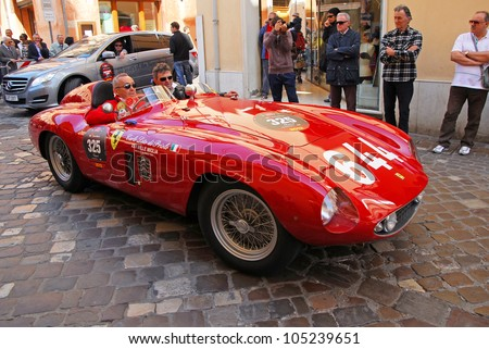 "RAVENNA, ITALY - MAY 18:  A FERRARI 500 Mondial (1955) at the ""Mille miglia"" historical race for classic cars on May 18, 2012 in Ravenna, Italy."
