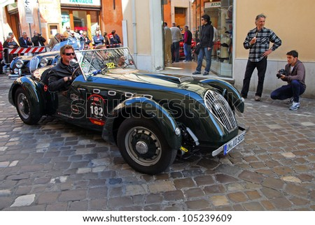 "RAVENNA, ITALY - MAY 18:  A HEALEY Silverstone (1950) at the ""Mille miglia"" historical race for classic cars on May 18, 2012 in Ravenna, Italy. - stock photo"