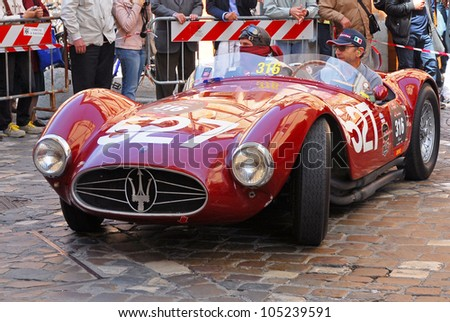 "RAVENNA, ITALY - MAY 18:  A MASERATI A6 GCS (1953) at the ""Mille miglia"" historical race for classic cars on May 18, 2012 in Ravenna, Italy."