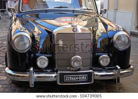 """RAVENNA, ITALY - MAY 18:  A MERCEDES-BENZ 220 A (1954)  at the """"Mille miglia"""" historical race for classic cars on May 18, 2012 in Ravenna, Italy. - stock photo"""