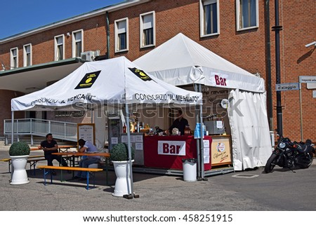 RAVENNA, ITALY-MAY 28, 2016: coffee stand at the old peer outdoor market. This market is very popular and attract thousands of tourists. - stock photo