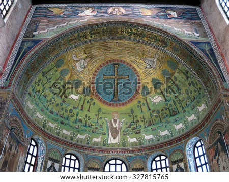 RAVENNA, ITALY - SEP 16, 2014: Interior of the medieval church of Basilica of Sant'Apollinare in Classe, a listed UNESCO World Heritage Site. The mosaic decoration of the apse date to the 6th century