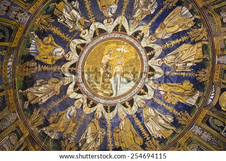 RAVENNA, ITALY -SEPTEMBER 6, 2014: Detail of the mosaic depicting the Baptism of Christ (centre) and the twelve apostles in Baptistery of Neon in Ravenna, Italy - stock photo
