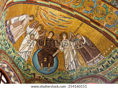 RAVENNA, ITALY  SEPTEMBER 6, 2014: Detail of the mosaics of the apse: the Redeemer, St. Vitale and the Bishop Ecclesius - stock photo