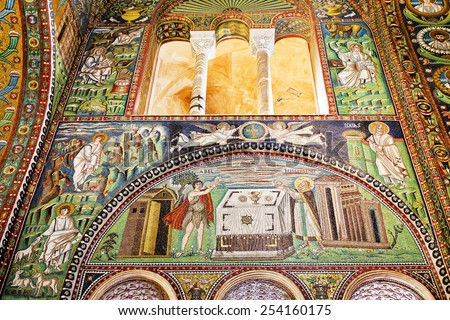RAVENNA, ITALY  SEPTEMBER 6, 2014: Detail of the mosaics on the right wall of the presbytery: Abel and Melchizedek offer their sacrifices to God.  - stock photo