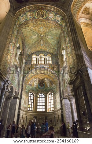 RAVENNA, ITALY  SEPTEMBER 6, 2014: View of the presbytery which is fully decorated with beautiful mosaics on the walls and ceiling dated 6th century. - stock photo