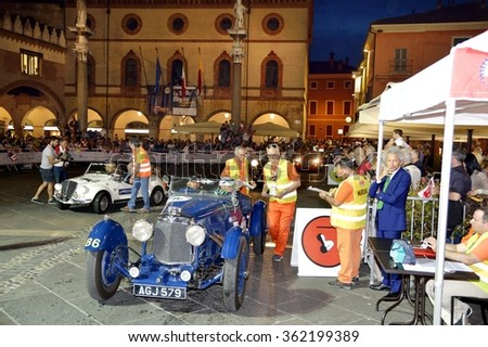 RAVENNA (RA), ITALY - MAY 14: A blue Aston Martin Le Mans takes part to the 1000 Miglia classic car race on May 14, 2015 in Ravenna (RA). The car was built in 1933. - stock photo