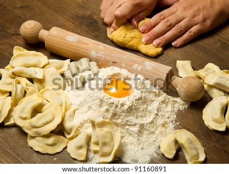 ravioli homemade pasta typical italian - stock photo
